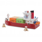 New Classic Toys - Stor Containerskib med 4 containere